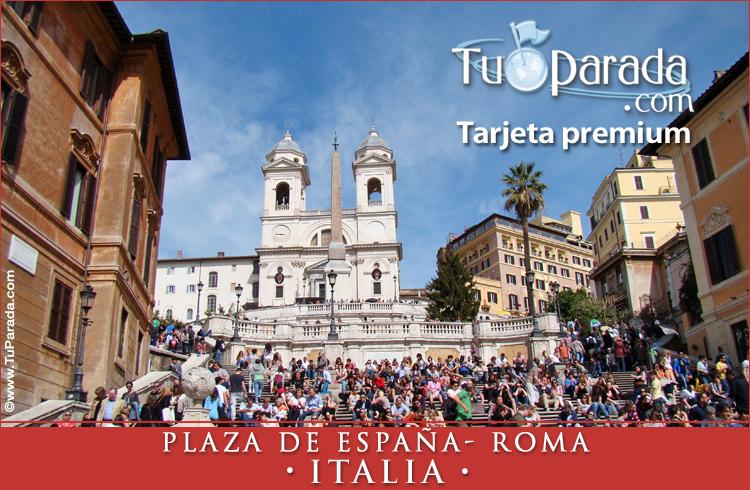 Tarjeta - Foto de la Plaza de España - Roma
