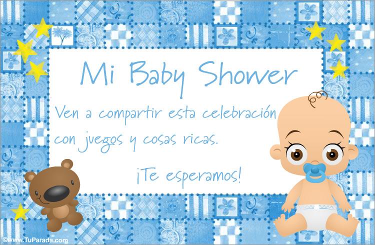 dc36bcd3faa70 Tarjeta de Baby Shower celeste - Baby Shower