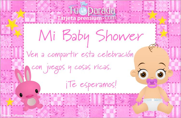 Tarjeta De Baby Shower Rosa Baby Shower Tarjetas