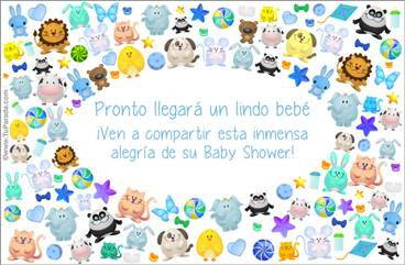 Tarjeta Baby Shower con animalitos en azul