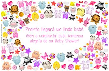 Tarjeta Baby Shower con animalitos en rosa