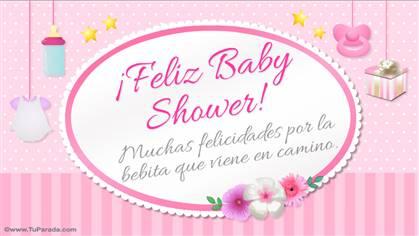 Tarjeta de Feliz Baby Shower rosa