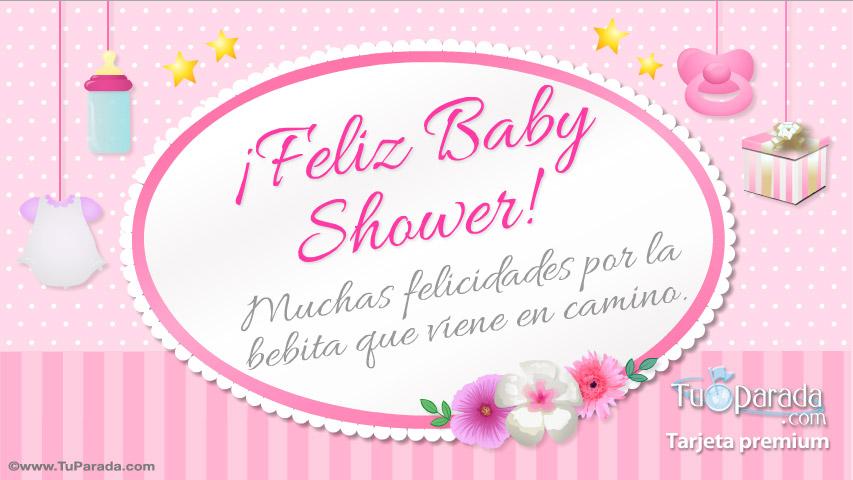 Tarjeta - Tarjeta de Feliz Baby Shower rosa