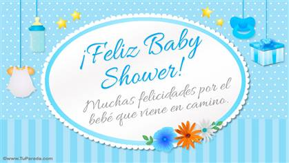 Tarjeta de Feliz Baby Shower celeste