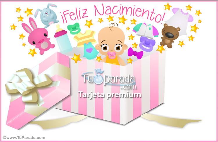 Tarjeta - Caja de regalo para nacimiento de mujer