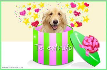 Tarjeta de amor, regalo con perro: Te extraño.