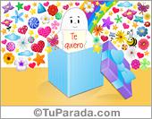 Tarjeta de te quiero con caja de regalo, arco iris, estrellas y flores.