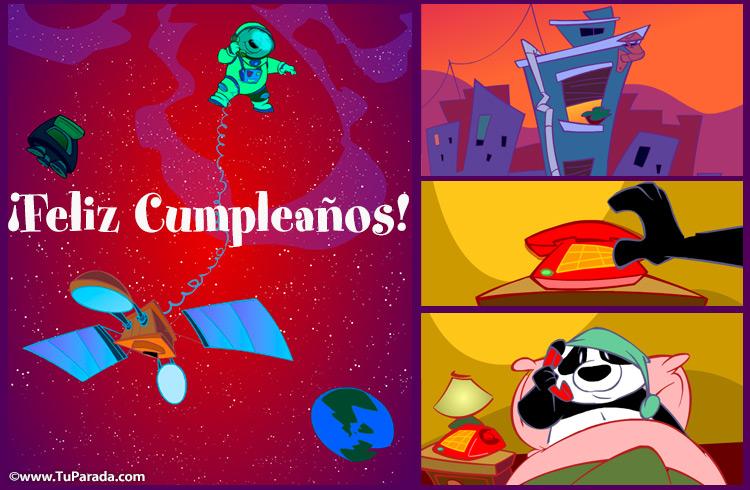 Tarjeta - Feliz cumpleaños por satélite.