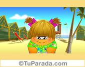 Imagen de playa y personaje