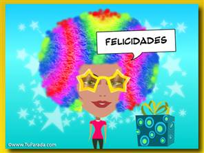 Imagen con peluca multicolor