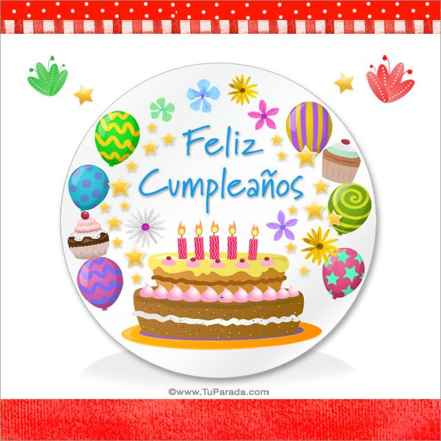 Feliz cumpleaños con torta