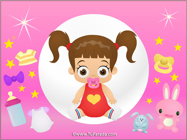 Tarjeta - Imagen de niña en rosa