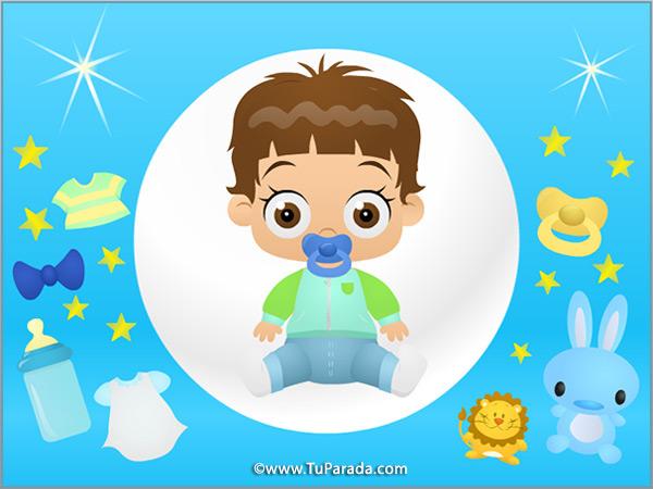 Tarjeta - Imagen de niño en celeste