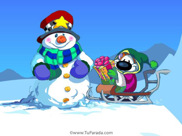 Tarjeta - Imagen de trineo de Navidad