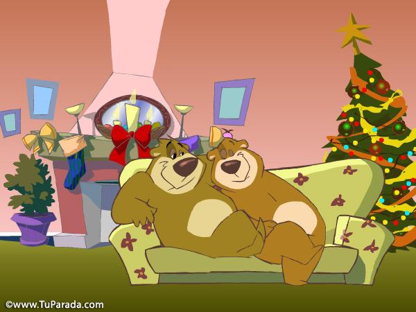 Tarjeta - Imagen osos en Navidad