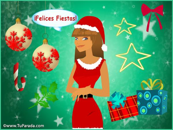 Tarjeta - Imagen con vestido de Navidad