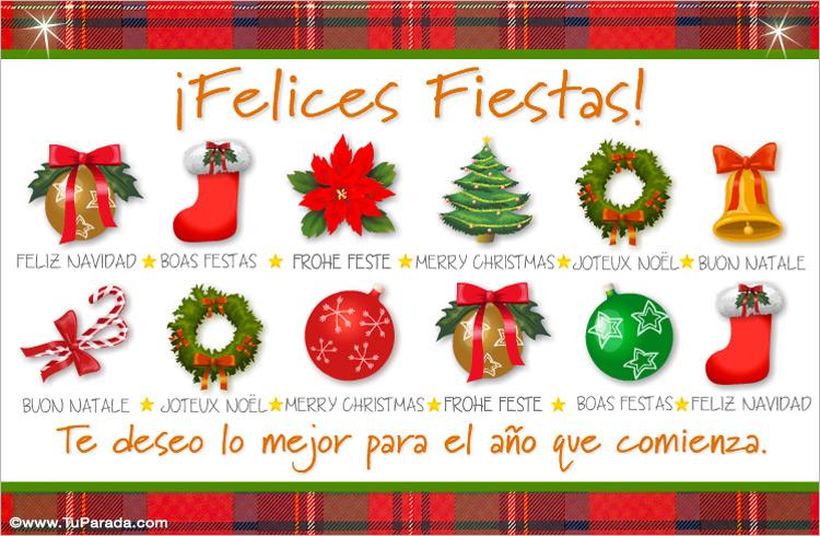 Tarjeta - Felices fiestas con adornos e idiomas