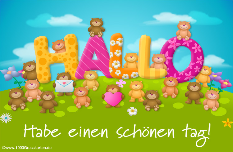 E-Card - Hallo mit freundlichen Bären