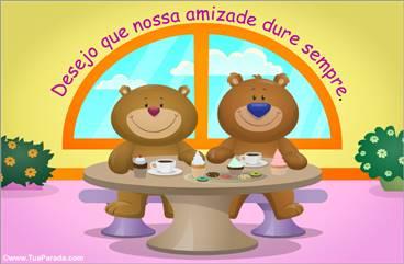 Cartão de amizade com ursos