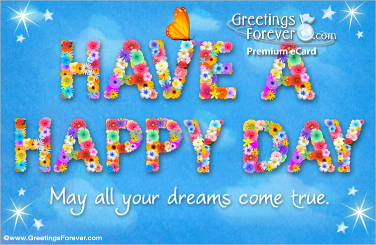 Ecard - Have a happy day with a butterfly
