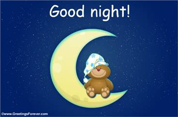 Good night ecard with little bear