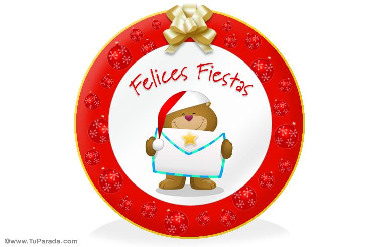 Tarjeta - Osito navideño para decorar