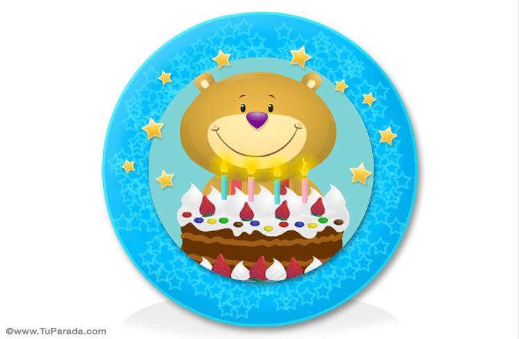 Tarjeta - Oso con torta para adorno