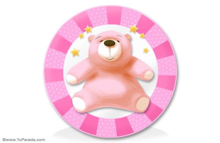 Tarjeta - Oso rosa para niñas