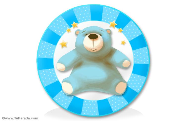 Tarjeta - Oso celeste para niños
