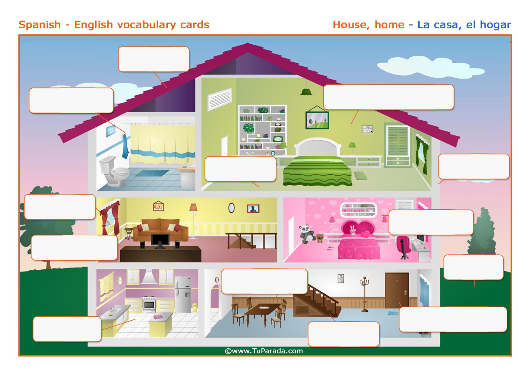Tarjeta - Vocabulario: Casa - House. Imprimir.