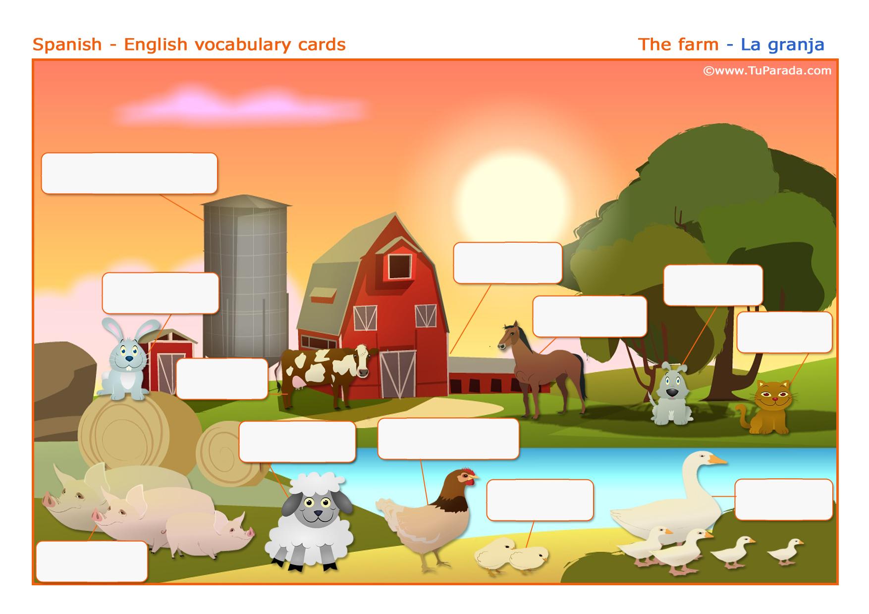 Tarjeta - Vocabulario: Granja - Farm. Imprimir.
