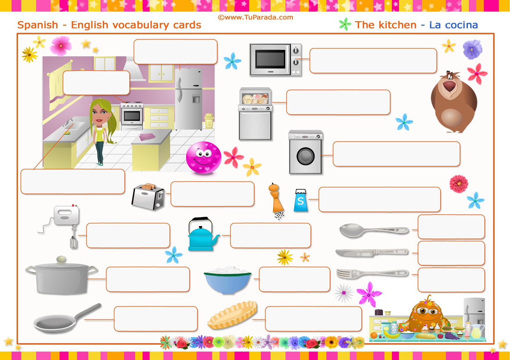 Vocabulario la cocina the kitchen imprimir for La cocina de dibujos pdf