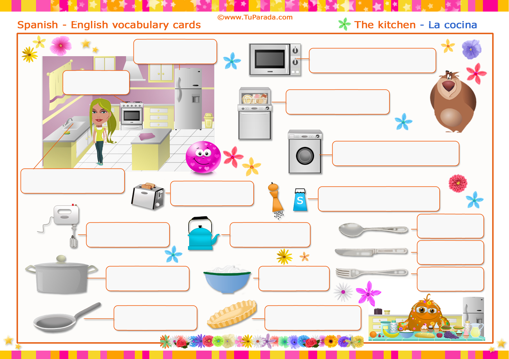 Tarjeta - Vocabulario: Cocina - Kitchen. Imprimir.
