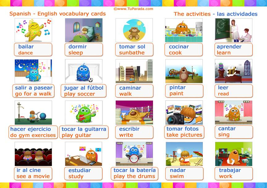 Vocabulario: las actividades, the activities.