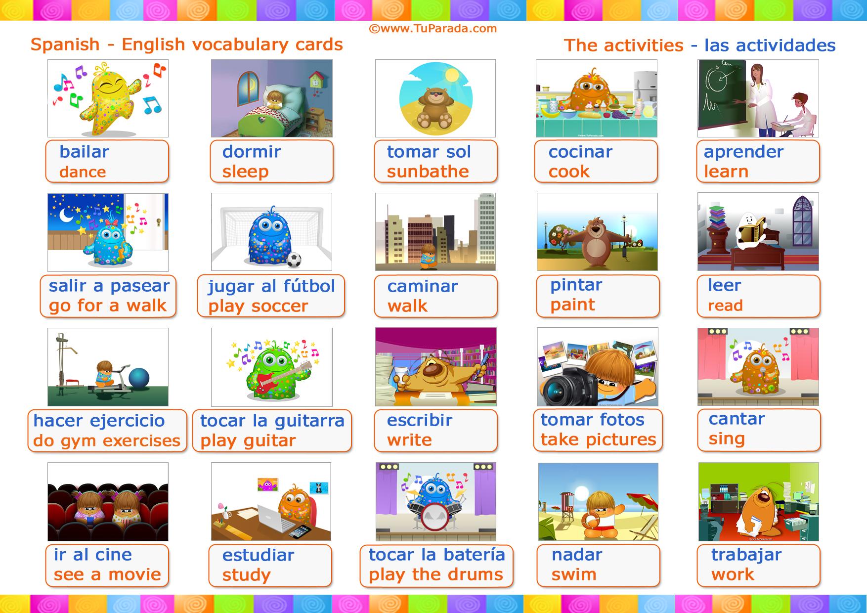 Vocabulario Actividades Activities Vocabulario Español