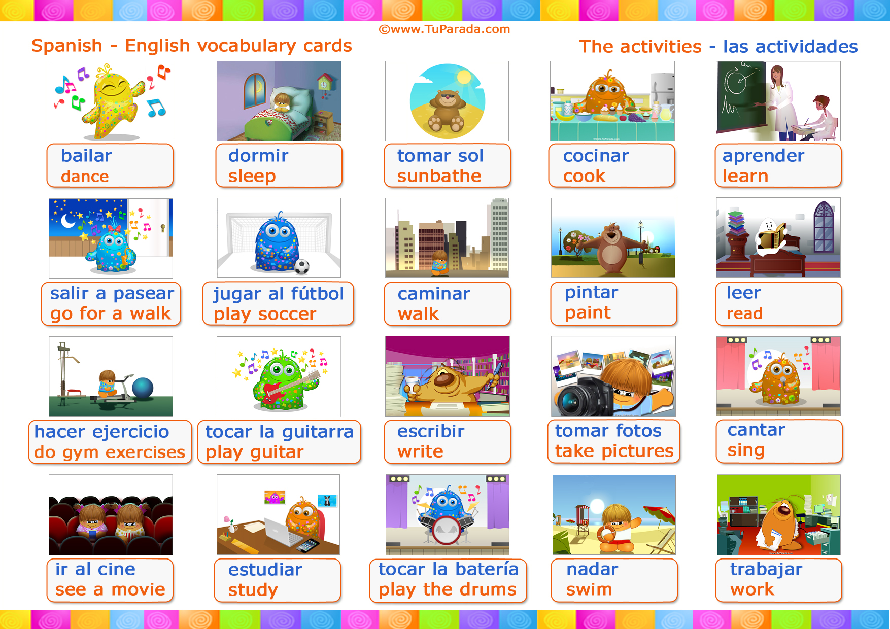 Tarjeta - Vocabulario: Actividades - Activities.