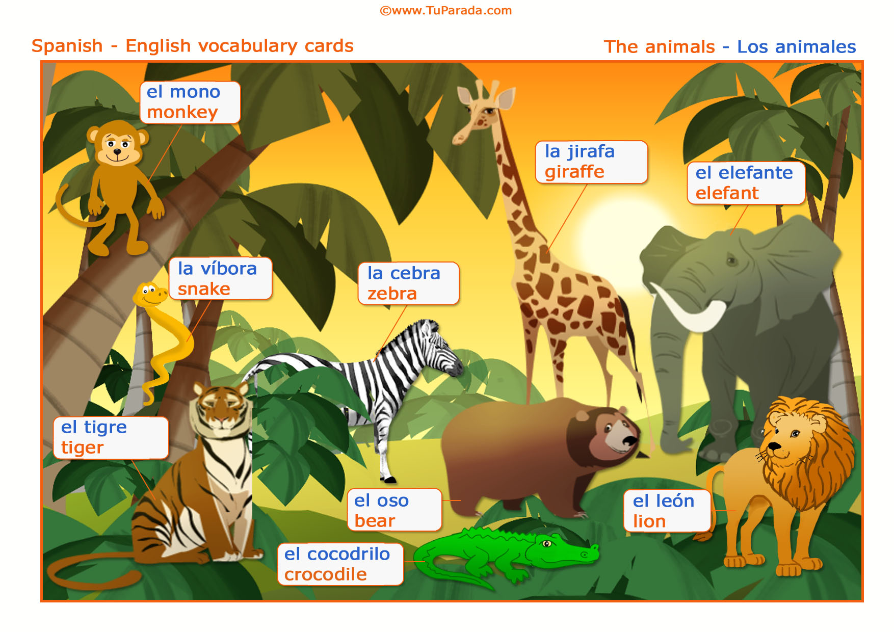 Enviar Tarjeta Postal Vocabulario Animales Animals