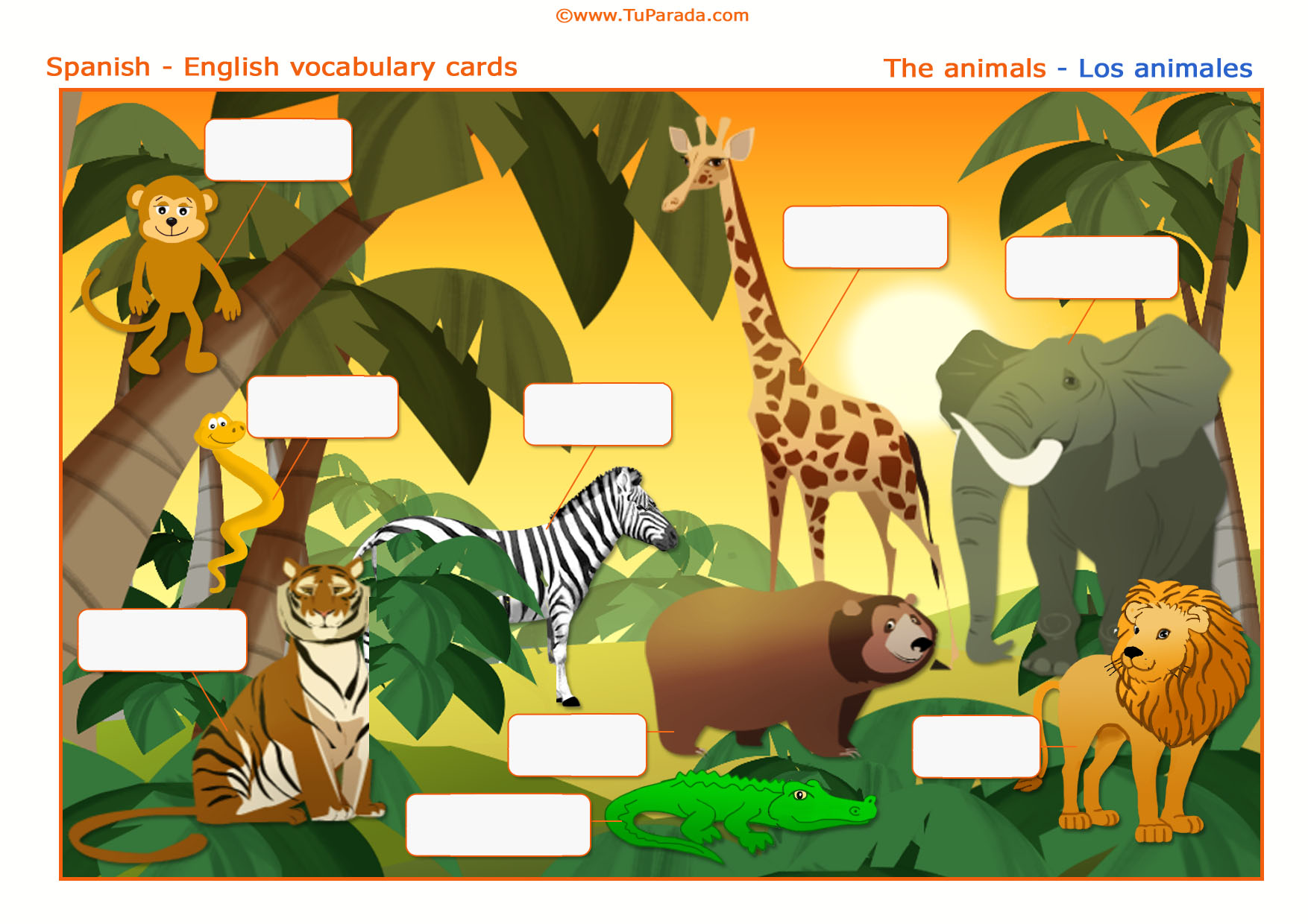 Tarjeta - Animales - Animals. Imprimir.