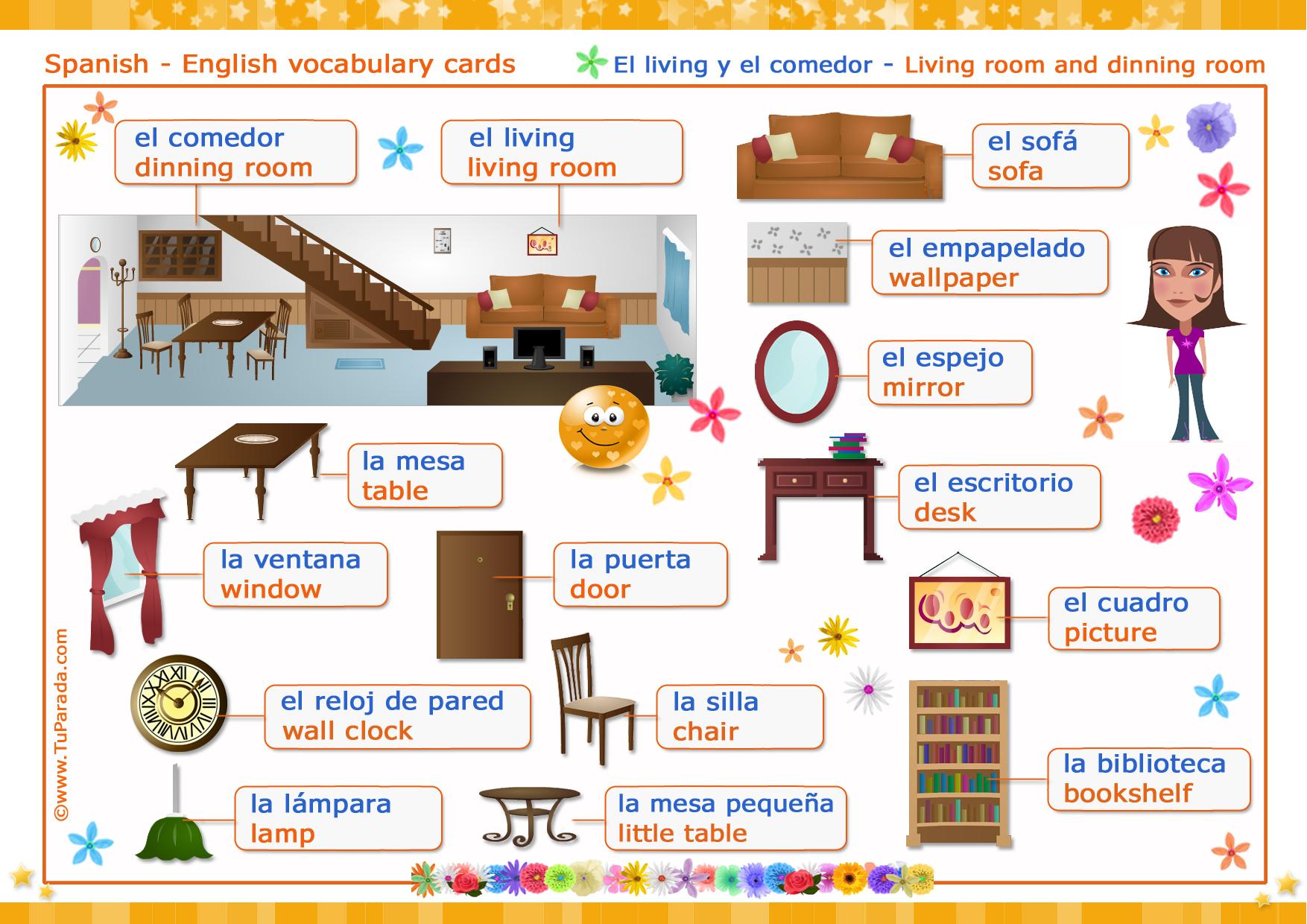El living living room dinning room vocabulario for Como se dice cocina en ingles