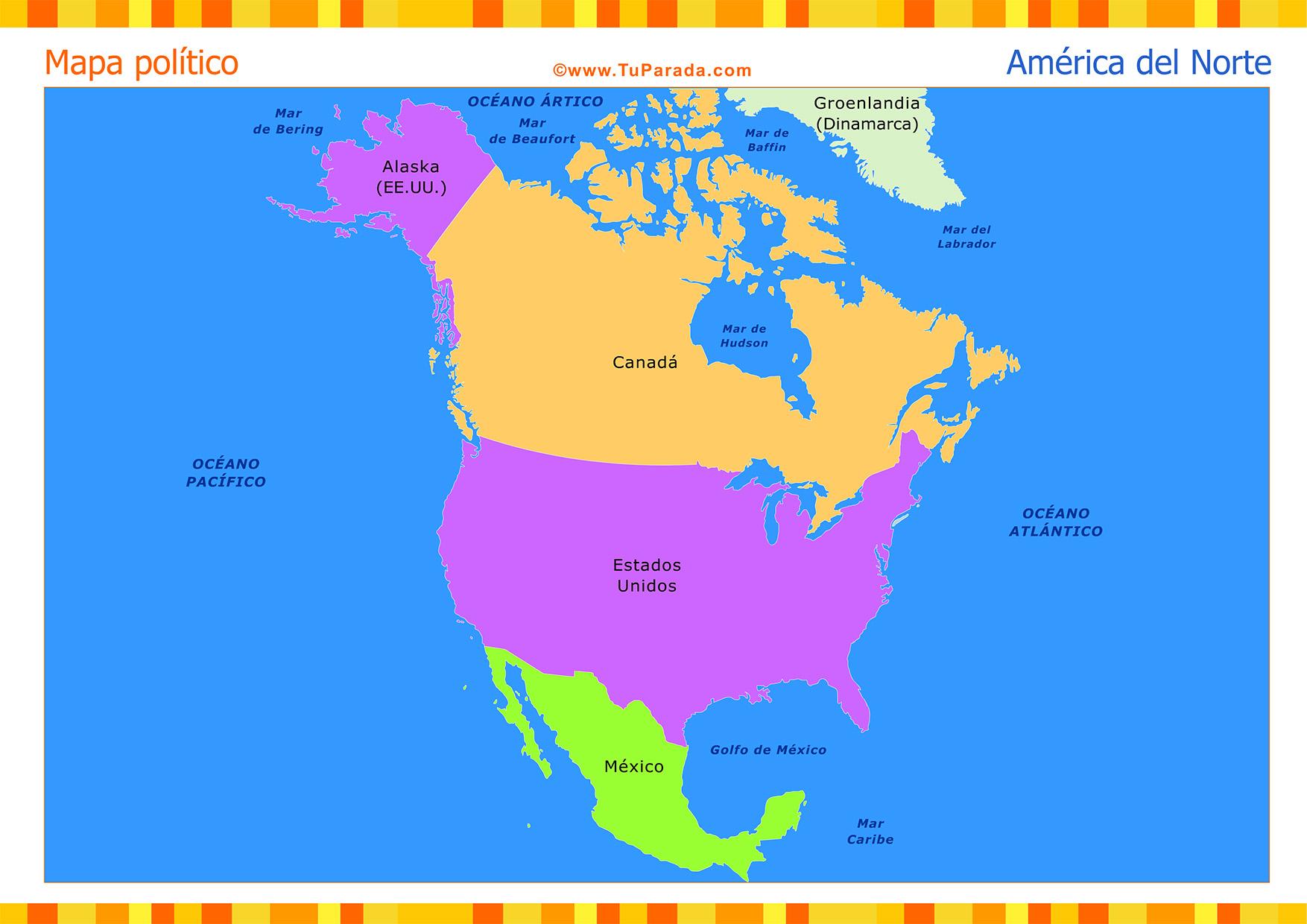 Mapa Politico De America Del Norte.Mapa De America Del Norte Politico Mapas Tarjetas