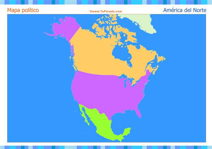 Mapa de América del Norte para completar