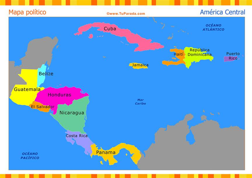 Mapa de América Central político