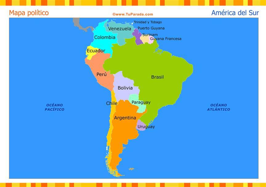 Mapa de América del Sur político