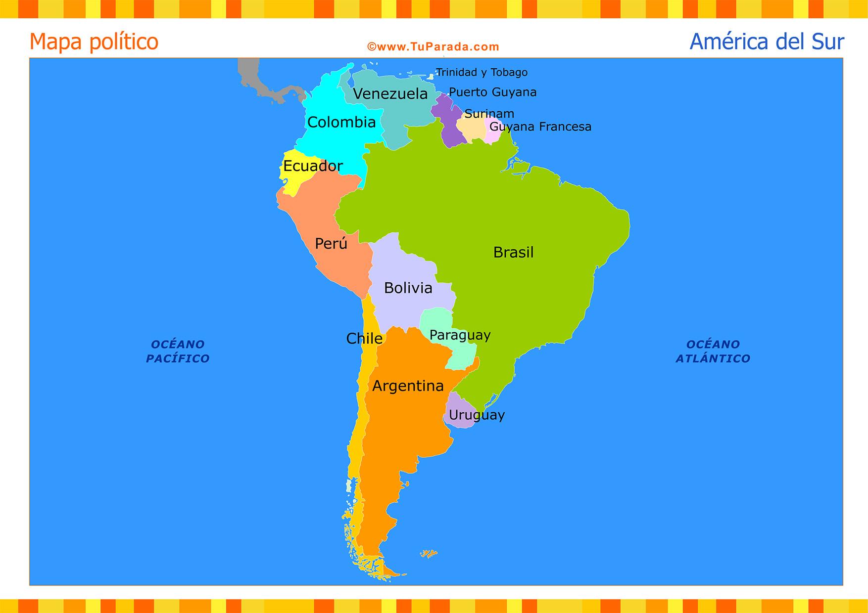 Mapa America Del Sur Con Nombres.Mapa De America Del Sur Politico Mapas Tarjetas