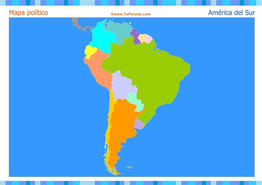 Mapa de América del Sur para completar