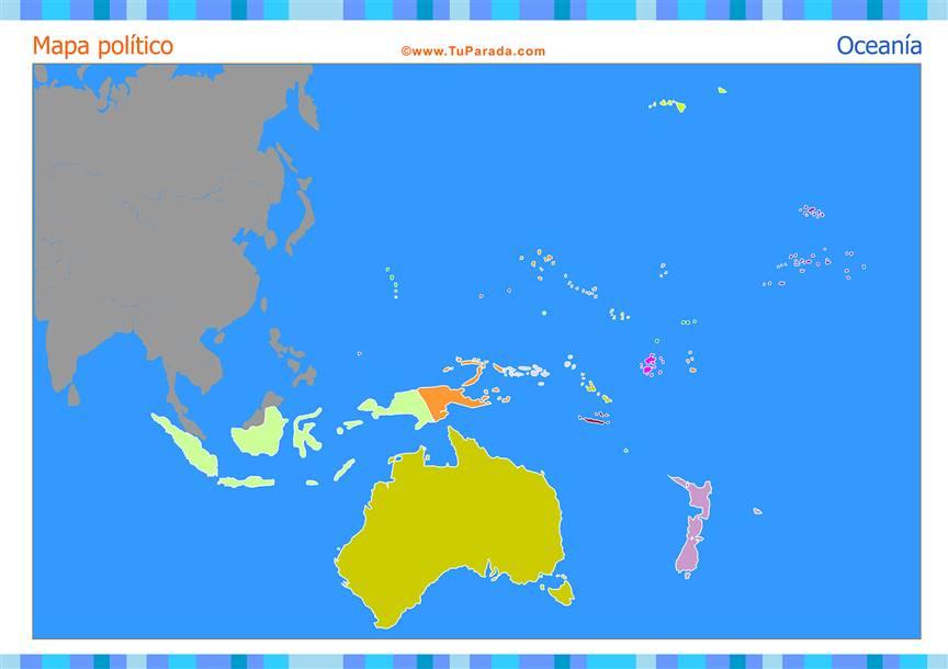 Mapa de Oceanía para completar