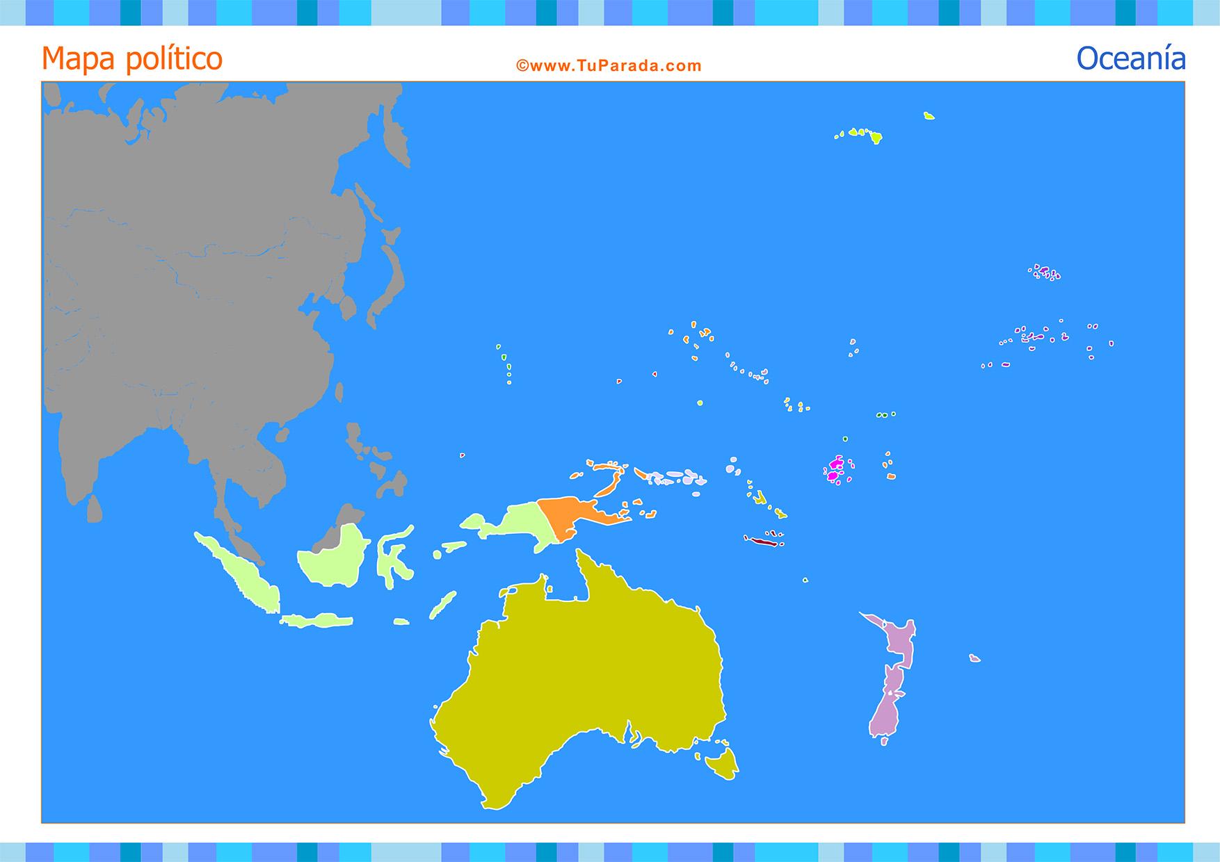 Tarjeta - Mapa de Oceanía para completar