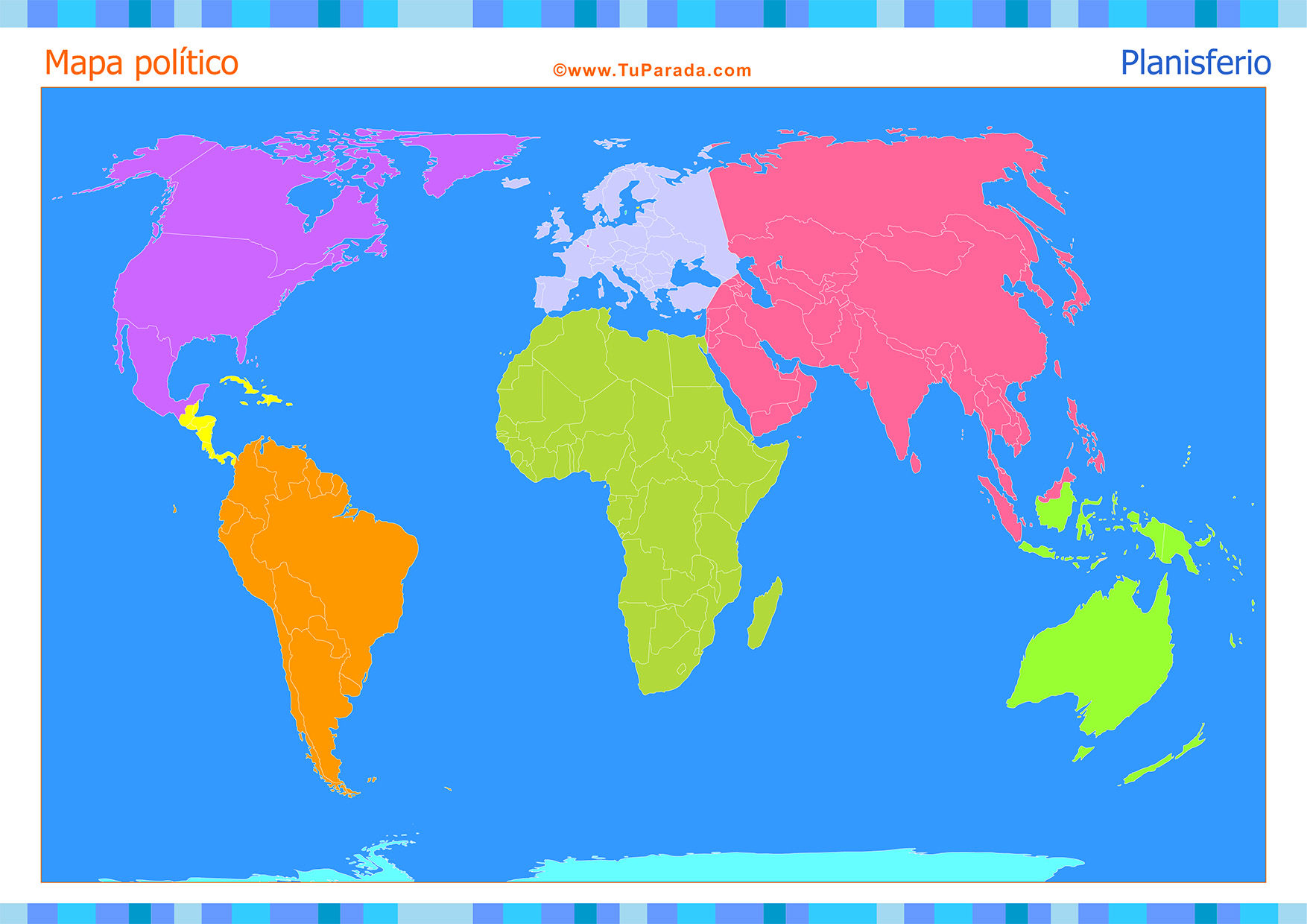 Tarjeta - Mapa Planisferio para completar