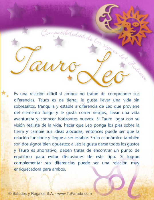 Tarjeta - Tauro con Leo
