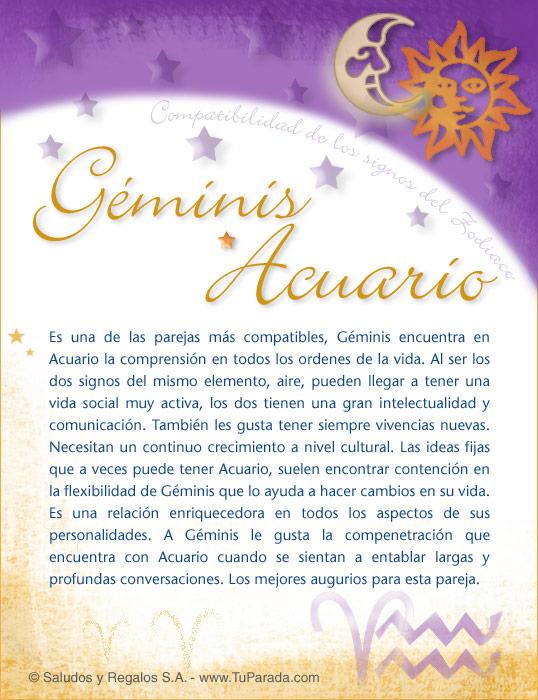 Tarjeta - Géminis con Acuario